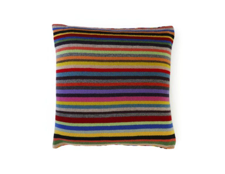Multi-coloured striped cushion